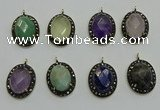 NGP6105 20*25mm - 22*30mm oval mixed gemstone pendants wholesle