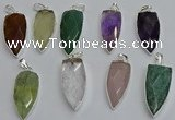 NGP6115 12*35mm - 15*40mm arrowhead mixed gemstone pendants