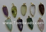 NGP6125 15*40mm arrowhead mixed gemstone pendants wholesale