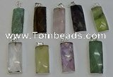 NGP6195 14*30mm - 15*38mm faceted rectangle mixed gemstone pendants