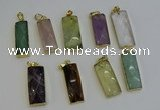NGP6212 14*30mm - 15*38mm faceted rectangle mixed gemstone pendants