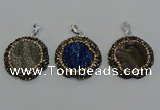 NGP6598 28mm - 30mm flower plated druzy agate gemstone pendants