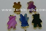 NGP6666 22*38mm Animal or V-shaped agate gemstone pendants