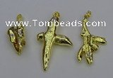 NGP6714 10*25mm - 20*45mm freeform gold plated pearl pendants