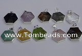 NGP6839 24*25mm hexagon mixed gemstone pendants wholesale