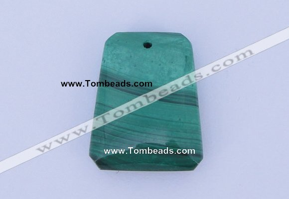 NGP717 18*23mm trapezoid natural malachite gemstone pendant