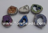 NGP7290 25*35mm - 35*40mm freeform plated druzy agate pendants