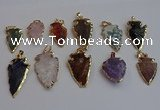 NGP7367 15*20mm - 22*40mm arrowhead mixed gemstone pendants