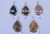 NGP751 5PCS 34*48mm teardrop gemstone pendants with brass setting