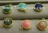 NGP7566 12mm coin mixed gemstone pendants wholesale