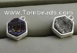 NGP7571 12*12mm hexagon plated druzy agate pendants wholesale