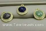 NGP7592 11mm coin mixed gemstone pendants wholesale