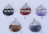 NGP766 5PCS 25*28mm mixed gemstone pendants with brass setting