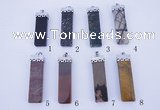 NGP774 5PCS 14*54mm rectangle gemstone pendants with brass setting