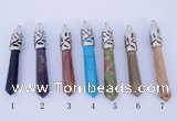 NGP776 5PCS 10*62mm mixed gemstone pendants with brass setting