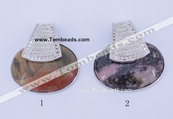 NGP781 5PCS 40*44mm oval gemstone pendants with brass setting