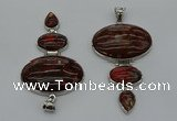 NGP8017 50*82mm - 52*86mm brecciated jasper pendant set jewelry