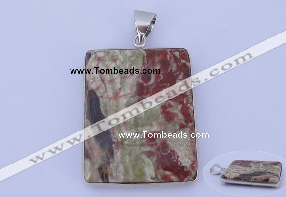 NGP825 5PCS 38*48mm rectangle rainforest agate pendants with brass setting