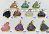 NGP9602 20*20mm faceted plated druzy agate pendants