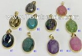 NGP9607 17*22mm faceted oval plated druzy agate pendants