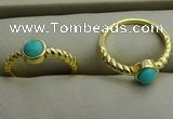 NGR1050 4mm coin synthetic turquoise rings wholesale