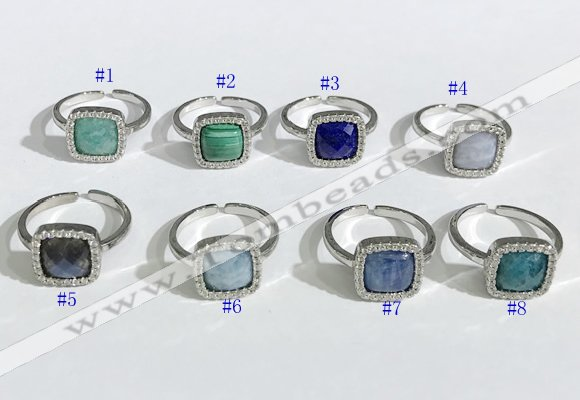 NGR1131 12mm square mixed gemstone gemstone rings wholesale