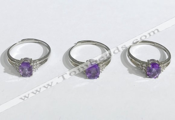 NGR1146 6*8mm faceted oval amethyst gemstone rings wholesale