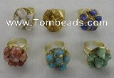 NGR181 25*30mm druzy agate gemstone rings wholesale