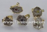 NGR204 18*25mm � 25*35mm freeform druzy quartz gemstone rings