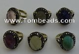 NGR2118 10*15mm faceted oval mixed gemstone rings wholesale