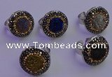 NGR2143 20mm - 22mm coin plated druzy agate gemstone rings
