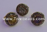 NGR2150 20mm - 22mm coin plated druzy agate gemstone rings