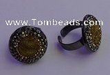 NGR2156 20mm - 22mm coin plated druzy agate gemstone rings