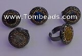 NGR2160 20mm - 22mm coin plated druzy agate gemstone rings