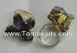 NGR81 18*25mm - 25*30mm butterfly druzy amethyst gemstone rings