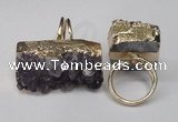 NGR90 22*30mm - 20*40mm freeform druzy amethyst gemstone rings